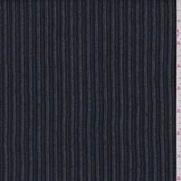 Black/Denim Blue Dobby Stripe Wool Jacketing