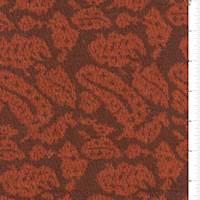*1 3/8 YD PC--Mocha/Orange Paisley Jacquard Sweater Knit