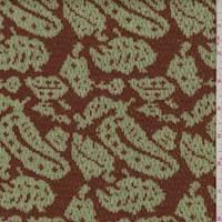 *1 1/4 YD PC--Brick Orange/Sage Paisley Jacquard Sweater Knit