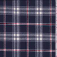 Navy/Grey/Red Plaid Wool Flannel Suiting
