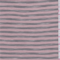 *4 1/4 YD PC--Powder Pink/Moss Stripe T-Shirt Knit