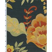 *1 YD PC--Multicolor/Black Silk Garden Floral Jacquard Home Decorating Fabric