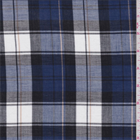 *3 1/4 YD PC--Blue/White/Black Plaid Shirting
