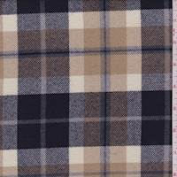 Tan/Navy Plaid Wool Flannel Suiting
