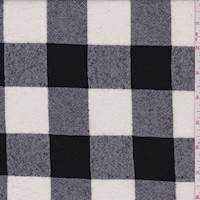 White/Black Buffalo Plaid Wool Crepe Suiting