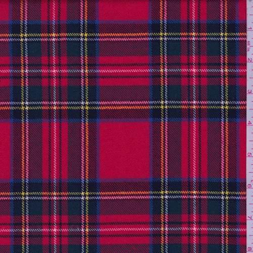 Bright Red Tartan Plaid Wool Suiting 72011 Fashion Fabrics