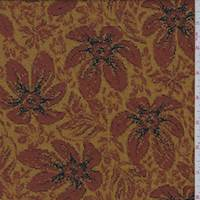 Brick Orange/Dark Gold Daisy Floral Jacquard Knit
