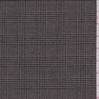 Tan/Black Houndstooth Plaid Wool Flannel Suiting