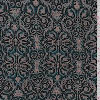 *2 1/2 YD PC--Black/Tan Scroll Print Rayon Challis