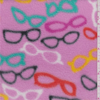 *1 YD PC--Pink Eyeglass Print Polyester Fleece