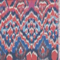 Persimmon/Cobalt Ikat Polyester Chiffon