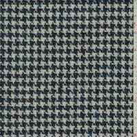 Blue Wool Houndstooth Tweed Jacketing