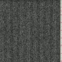 Grey Wool Fulled Double Weave Twill Stripe Coating