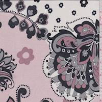 Blush Pink/Ivory Stylized Floral Print Silk Jersey Knit