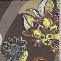 Brown/Taupe Stylized Floral Print Silk Jersey Knit