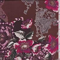 Cinnamon/Pink Floral Print Silk Charmeuse