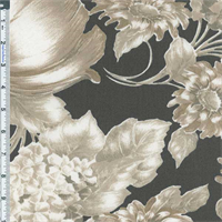 *1 3/4 YD PC--Taupe Floral Print Indoor/Outdoor Fabric