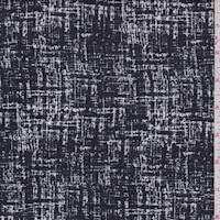 *1 3/4 YD PC--Black/White Crosshatch Ponte Double Knit