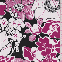 *2 3/4 YD PC--Black/Fuchsia/White Floral Print Cotton Shirting