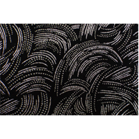 *2 YD PC--Black/Silver Bead/Glitter Flock Abstract Interlock Knit