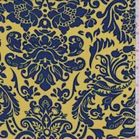 Gold/Blue Acanthus Crepe De Chine