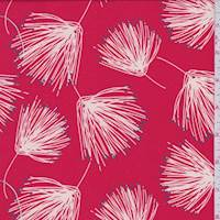 Coral Red Fringe Floral Crepe de Chine
