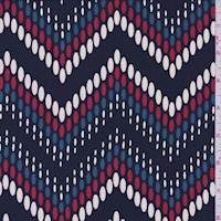 Navy Pebble Chevron Crepe de Chine