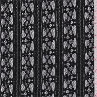 *2 5/8 YD PC--Black Floral Stripe Stretch Lace
