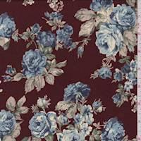 Maroon Rose Print Crepe de Chine