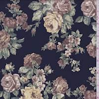 Deep Navy Rose Floral Crepe de Chine