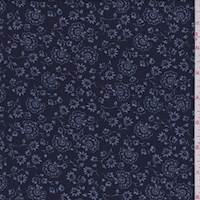 *2 5/8 YD PC--Navy/White Stylized Floral Chambray