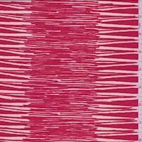Red/Ecru Seismic Stripe Print Crepe de Chine