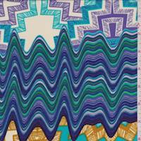 Ecru/Turquoise/Purple Abstract Crepe de Chine