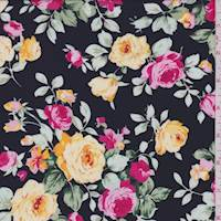 Black/Pink/Yellow Floral Polyester Crepe