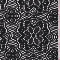 *5 1/4 YD PC--Black Crochet Floral Lace