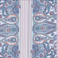 White/Cottage Blue Paisley Crepe De Chine
