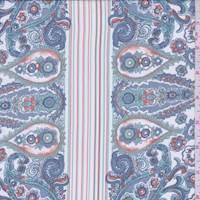White/Cottage Blue Paisley Crepe De Chine