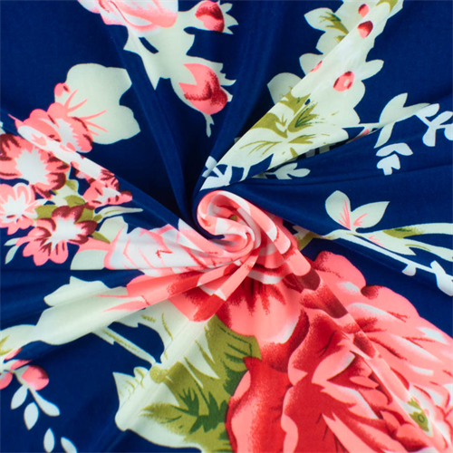 Cobalt Neon Pink Floral Ity Jersey Knit 48464 Discount Fabrics