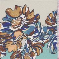 *7/8 YD PC--Aqua/Beige Floral Combo Crepe de Chine