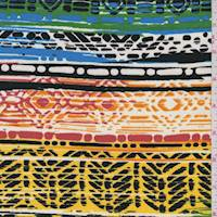 Yellow/Kelly Multi Aztec Stripe Crepe De Chine