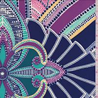 Teal/Navy/Purple Medallion Crepe De Chine