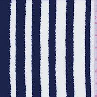 White/Navy Jagged Stripe Crepe De Chine