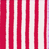 Bright Red/White Jagged Stripe Crepe De Chine
