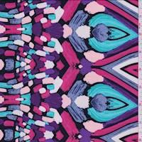 Black/Turquoise/Pink Mosaic Crepe De Chine