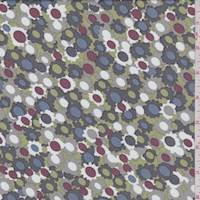 *4 YD PC--Taupe/Grey/Lime Whimsy Floral Peachskin