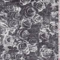 *1 3/8 YD PC--Slate Black Rose Print Rayon Jersey Knit