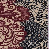 Golden Beige/Black Lace Print Silk Jersey Knit