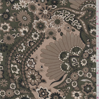 *4 1/2 YD PC--Olive/Taupe Fan Floral Print Georgette