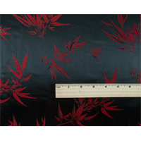 *1 3/8 YD PC--Black/Red Bamboo Brocade