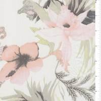 *4 1/2 YD PC--White/Peach Floral Silk Chiffon